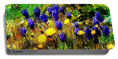 Blue And Yellow Wild Flower Medley Portable Battery Charger