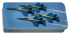 Portable Battery Charger featuring the photograph Blue Angels Diamond Formation by Adam Romanowicz