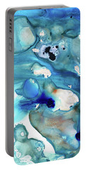 Portable Battery Charger featuring the painting Blue Art - The Meaning Of Life - Sharon Cummings by Sharon Cummings