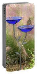 Blue Bird Bath Portable Battery Charger by Rosalie Scanlon