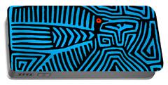 Portable Battery Charger featuring the digital art Blue Bird Mola by Vagabond Folk Art - Virginia Vivier