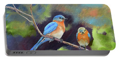 Blue Birds - Soul Mates Portable Battery Charger by Jan Dappen