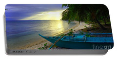 Blue Boat And Sunset On Beach Portable Battery Charger