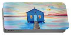 Blue Boat Shed By The Swan River Perth Portable Battery Charger