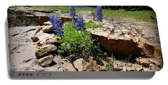 Blue Bonnets On The Rocks Portable Battery Charger