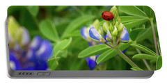 Texas Blue Bonnet And Ladybug Portable Battery Charger