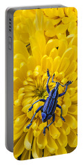 Blue Bug On Yellow Mum Portable Battery Charger