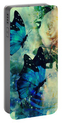 Blue Butterfies Portable Battery Charger by Maria Urso
