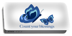 Blue Butterflies Count Your Blessings Portable Battery Charger