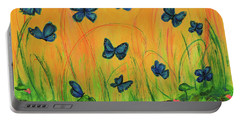 Blue Butterflies In Early Morning Garden Portable Battery Charger