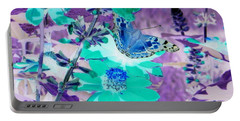Blue Butterfly And Teal Flowers Portable Battery Charger