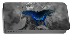 Blue Butterfly In Charcoal And Vibrant Aqua Paint Portable Battery Charger by MendyZ