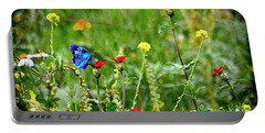 Blue Butterfly In Meadow Portable Battery Charger