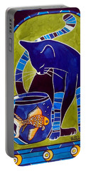 Portable Battery Charger featuring the painting Blue Cat With Goldfish by Dora Hathazi Mendes