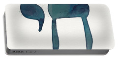 Blue Chai- Hebrew Art By Linda Woods Portable Battery Charger