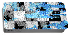 Blue Checker Skull Splatter Portable Battery Charger by Roseanne Jones