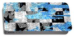 Blue Checker Skull Splatter Portable Battery Charger