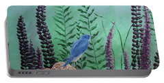 Blue Chickadee Standing On A Rock 1 Portable Battery Charger