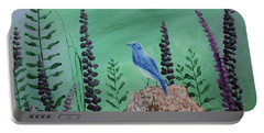 Blue Chickadee Standing On A Rock 2 Portable Battery Charger