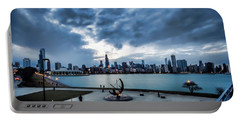 Blue Clouds And Chicago Skyline Portable Battery Charger