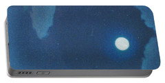 Blue Cloudy Moon Portable Battery Charger