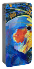 Portable Battery Charger featuring the painting Blue Cockatiel by Donald J Ryker III