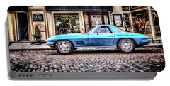 Portable Battery Charger featuring the photograph Blue Corvette by Wade Brooks