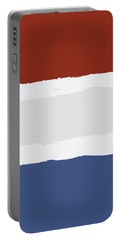Blue Cream Red Stripes Portable Battery Charger by P S