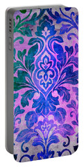 Blue Damask Pattern Portable Battery Charger