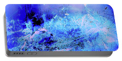 Blue Digital Artwork With Dots And Stripes And Sandstone Finish Portable Battery Charger