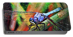 Blue Dragonfly Portable Battery Charger by David Mckinney