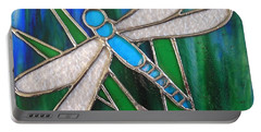 Blue Dragonfly On Reeds With Bluey Green Background Portable Battery Charger
