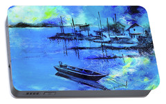 Portable Battery Charger featuring the painting Blue Dream 2 by Anil Nene