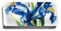Blue Dutch Iris Flower Painting Portable Battery Charger