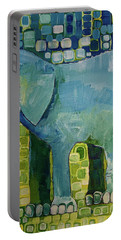 Portable Battery Charger featuring the painting Blue Elephant by Donna Howard