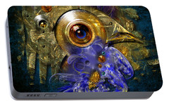 Portable Battery Charger featuring the painting Blue Eyed Bird by Alexa Szlavics