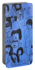 Blue Faces Portable Battery Charger by Maria Iliou