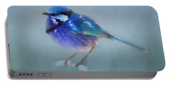 Blue Fairy Wren Portable Battery Charger by Michelle Wrighton