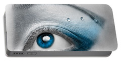 Blue Female Eye Macro With Artistic Make-up Portable Battery Charger