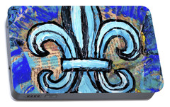 Portable Battery Charger featuring the mixed media Blue Fleur De Lis by Genevieve Esson