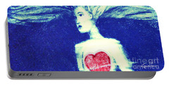 Blue Floating Heart Portable Battery Charger
