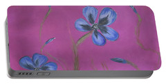 Blue Flower Magenta Background Portable Battery Charger