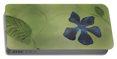 Blue Flower On A Vine Portable Battery Charger