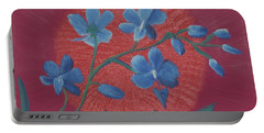 Blue Flower On Magenta Portable Battery Charger