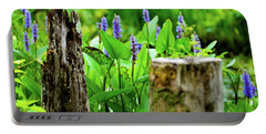 Blue Flowers And Artistic Logs Portable Battery Charger