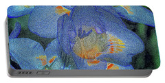 Portable Battery Charger featuring the photograph Blue Freesia's by Lance Sheridan-Peel