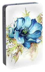 Portable Battery Charger featuring the painting Blue Gem by Anna Ewa Miarczynska