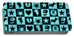 Blue Goth Punk Checkers Portable Battery Charger