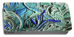 Blue Gray Acrylic Brush Strokes Abstract For Interior Decor I  Portable Battery Charger