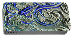 Blue Gray Acrylic Brush Strokes Abstract For Interior Decor II Portable Battery Charger